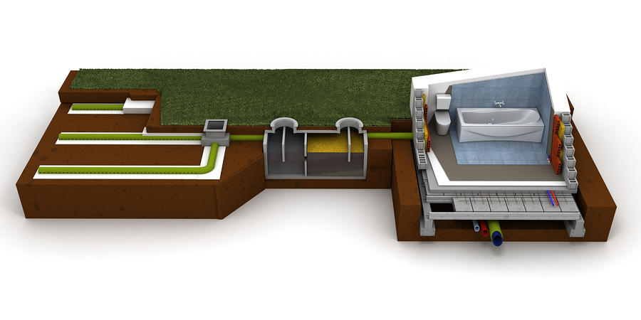 3D rendering of a house cross section showing bathroom and sewag