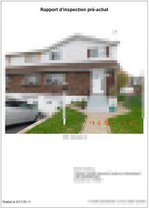 Une photo de la demeure inspectée accompagne notre exemple de rapport d'inspection préachat